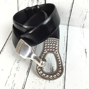 Accessories - Black Adjustable Belt With Silver Buckle SZ S / M